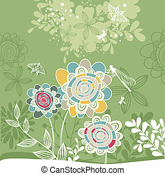 lovely floral card - abstract cute lovely floral card vector...
