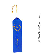 First Place Ribbon - First place ribbon isolated on white...
