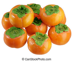 Persimmon stack - Stack of persimmon fruits isolated on...