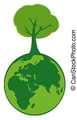 Green Planet With Tree