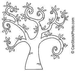 Outlined Cartoon Tree