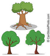 Set Of Cartoon Tree