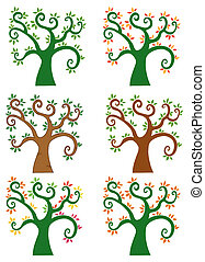 Set Of Abstract Cartoon Tree