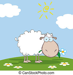 White Sheep Cartoon Character Eating A Flower On A Meadow