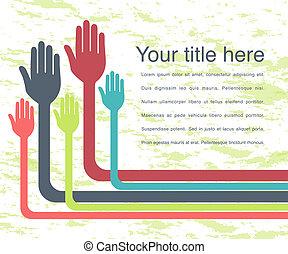 Bendy hands design. - Bendy hands design with copy space.