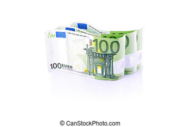 Three One hundred Euro banknotes isolated