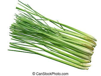 Lemongrass - Group of fresh lemongrass stems isolated on...