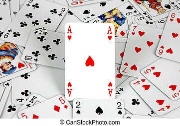 Ace - Hearts ace amongst playing cards