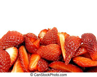 Fresh cut strawberries copy space - Fresh strawberries...