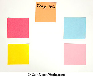 Things to do - Blank list of things to do on color papers