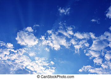 Cloudscape - Beautiful cloudscape with white cloude and blue...
