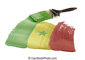 Flag of Senegal - Concept of paint strokes with the colors...