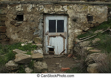 old delapidated door in a country house