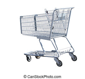 Shopping Cart - Single shopping cart isolated on white...