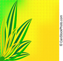 Green leaves on a dim yellow background