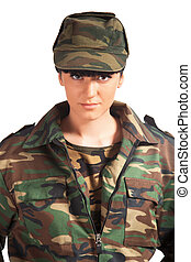 army girl - Portrait of beautiful army girl isolated...