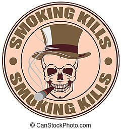 Smoking kills stamp - The vector image of a skull in a hat...