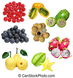 Fruit Set - Set of fresh fruits isolated on white background