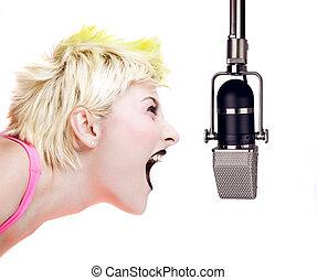 punk, niña, gritos, micrófono