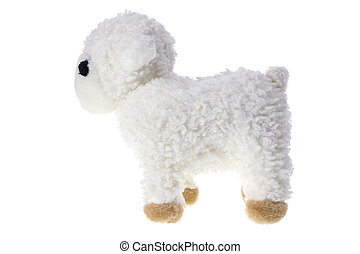 Lamb Soft Toy on White Background