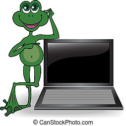 Frog leaned on the computer - green frog leaning on the open...