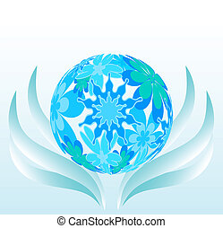 Background from a flower sphere, blue waves