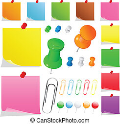 Colorful Paper Notes - Set of colorful paper notes with push...