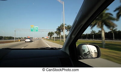 Florida highway. Windshield view.