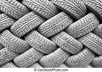 Backgorund, Muchos, negro, caucho, Neumáticos