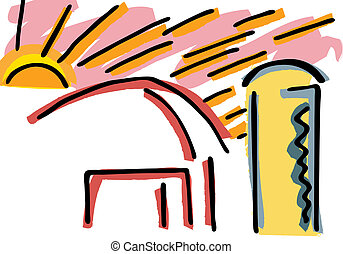 Sunrise Over Barn and Silo - Abstract drawing of a sunrise...