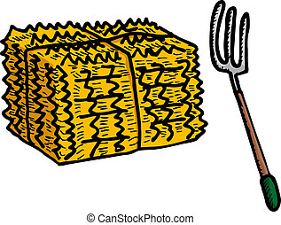 Hay Bale and Pitchfork - Isolated stack of hay and pitchfork...