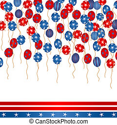 4th of July - Background illustration with colored balloons,...