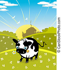 Cartoon cow on the meadow