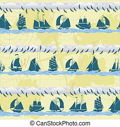 Seamless ships background - Seamless pattern with sailing...