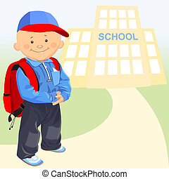 vector of the little boy goes to school