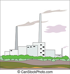 factory - Vector illustration of factory under the white...