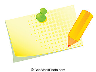 yellow sticky with a pencil - Vector illustration of a...