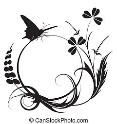floral background - vector floral background with butterfly...