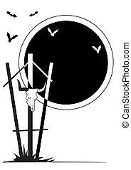 bull skull - vector Halloween illustration with bull skull...