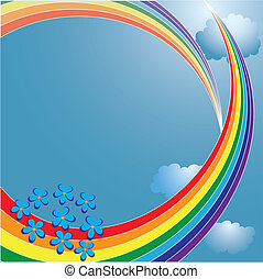 rainbow - abstract vector background with rainbow and...