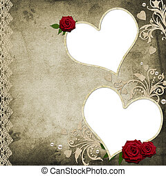 Album cover - vintage background with roses and hearts...