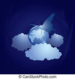 earth and butterfly - abstract vector illustration of the...