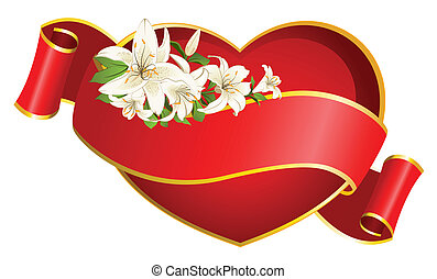 Red heart with ribbon and beautiful flowers. Vector
