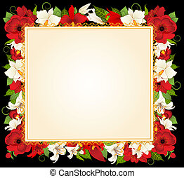 Abstract light background with flowers