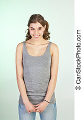 Humble girl - Humble smiling teenager girl in late teens