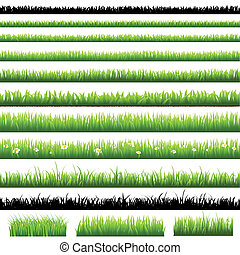 Green Grass Set, Isolated On White Background, Vector...
