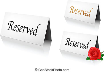 Reserved Sign - 3 Reserved Sign, Isolated On White...