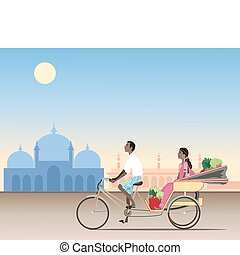 rickshaw - an illustration of a traditional rickshaw with an...