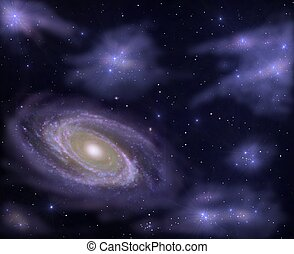 deep sky - Illustration of a galaxy with space nebulars...