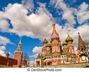 red square, Moscow - red square kremlin and basil the...